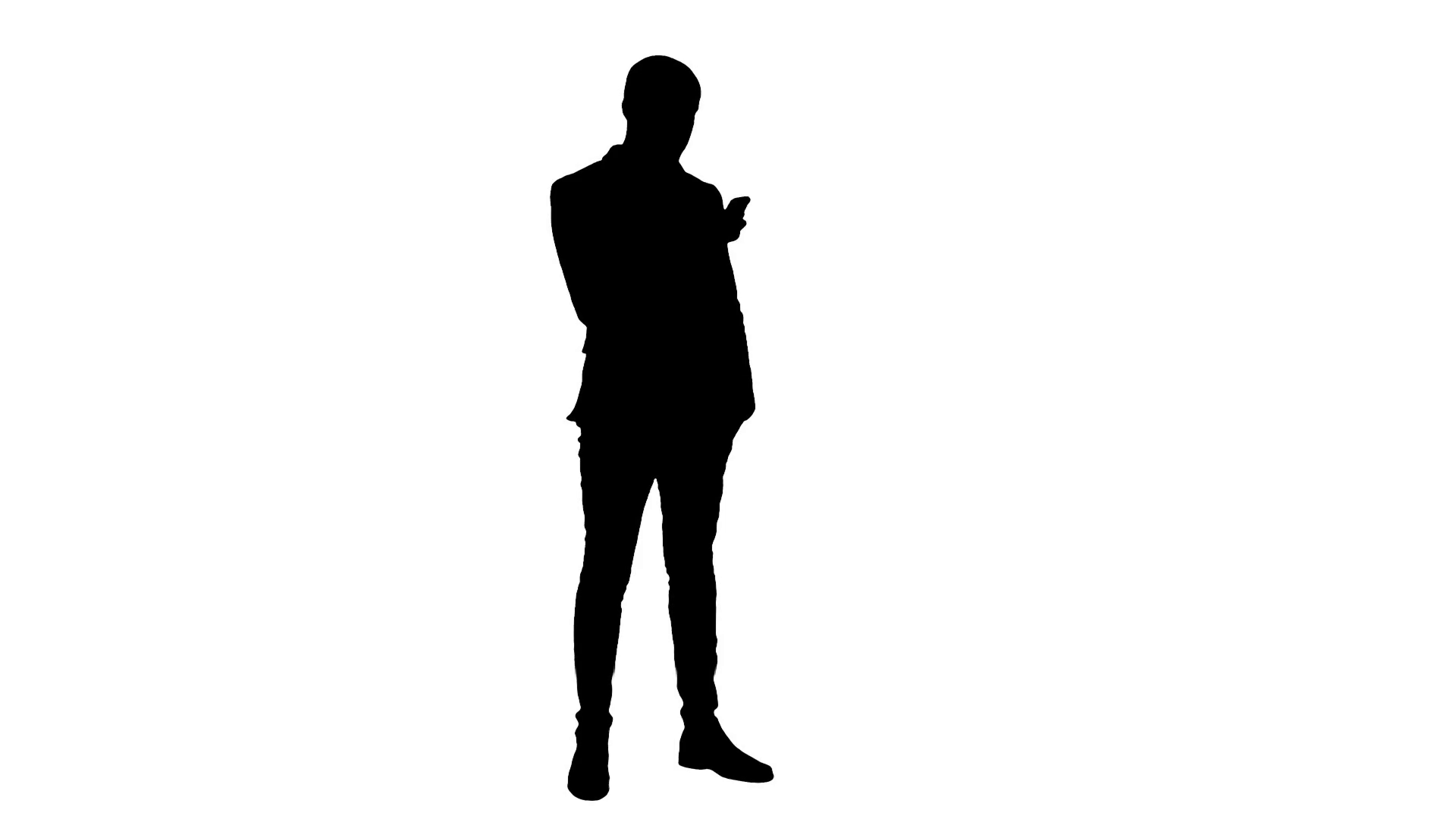 1920x1080 Silhouette Businessman Using Mobile Phone Stock Video Footage