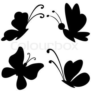 320x320 Vector, Butterflies With Opened Wings, Black Silhouettes On White