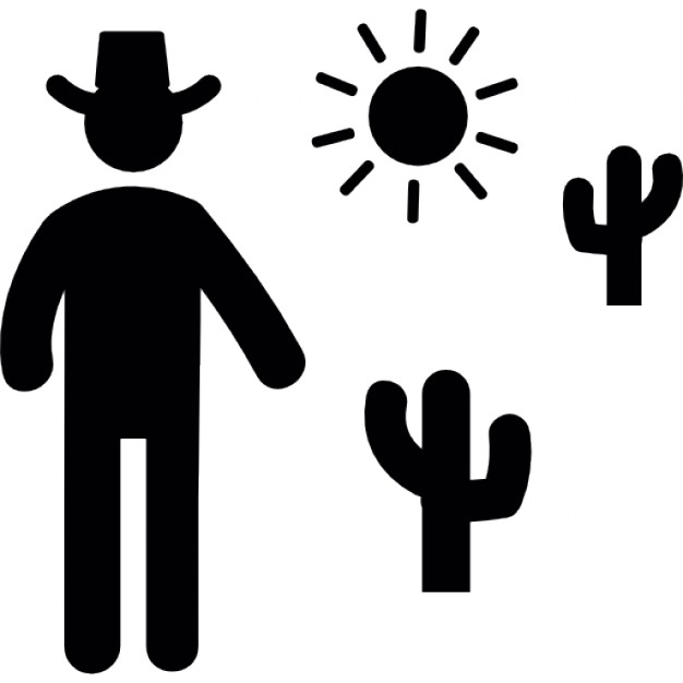 626x626 Cowboy Man Silhouette With Dessert Cactus And Sun Icons Free