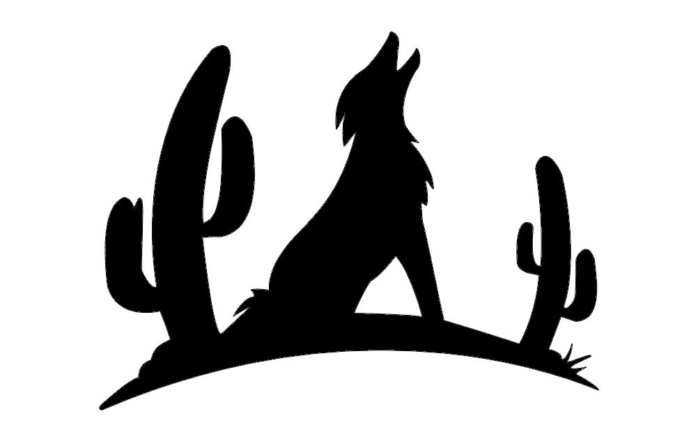 1002x633 Coyote With Cactus Silhouette Dxf File Free Download