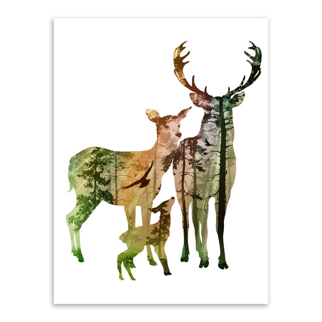 640x640 Modern Silhouette Of Deer Family With Pine Forest Canvas Painting