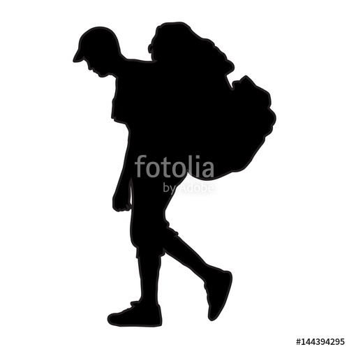 500x500 Tourist With Backpack Vector Silhouette Illustration Isolated