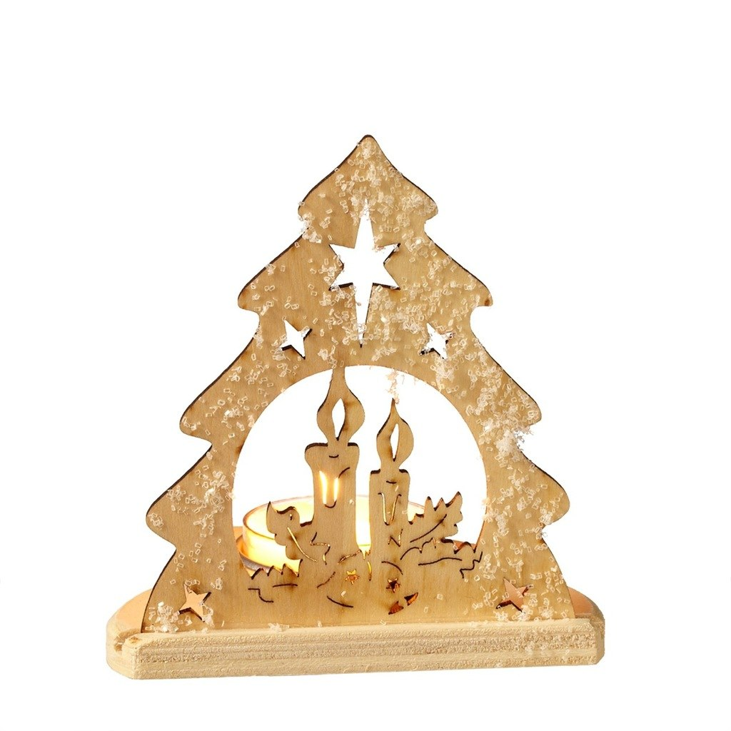 1024x1024 Christmas Tree, Candle And Stars, Silhouette Tealight Candle