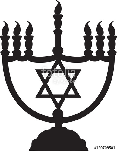 388x500 Drawing Of A Black Silhouette Of A Menorah With Jewish Star