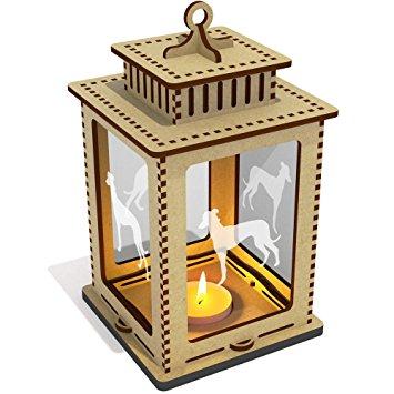 355x355 Greyhound Silhouette' Clear Candle Lantern Tea Light Holder