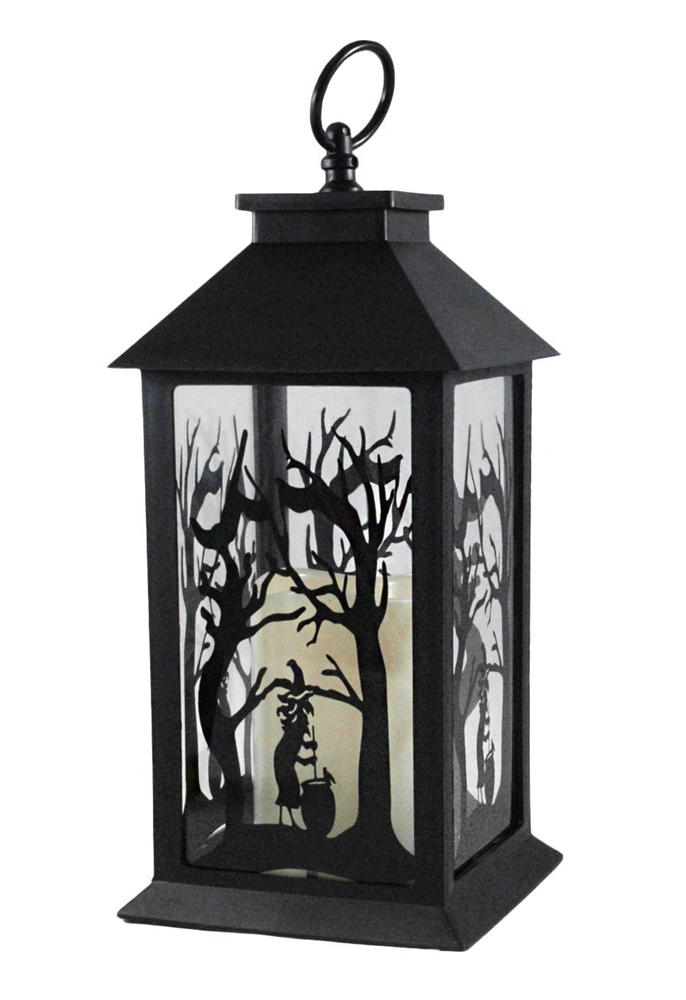 686x1000 Witch Silhouette Halloween Lantern With Led Candle