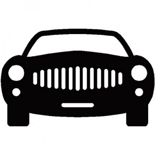 500x500 City Car Front View Silhouette
