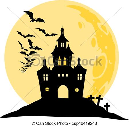450x438 Halloween View Of Castle, Moon, Bats And Hill. Silhouette Eps