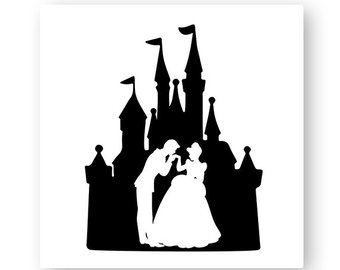 340x270 Svg, Dxf, Eps Cut File Princess As Cinderella In Castle Silhouette