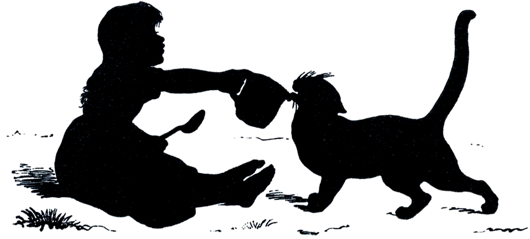 1800x811 Antique Silhouette Girl With Cat
