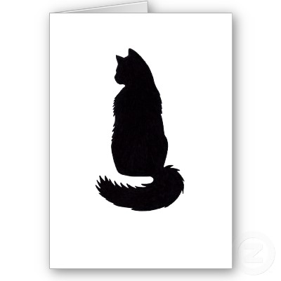 400x400 Long Haired Cat Silhouettes