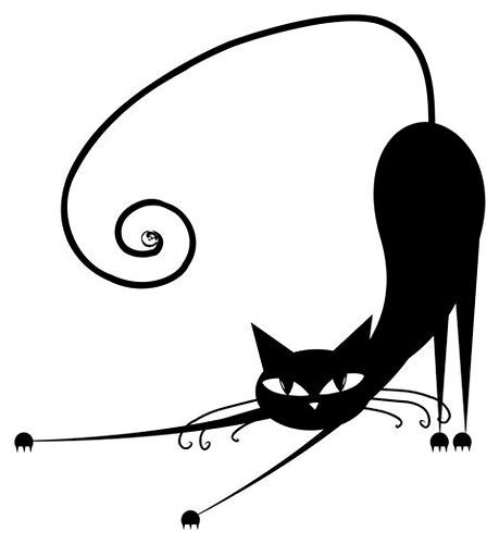 459x500 Relax. Black Cat Silhouette Stock Illustration