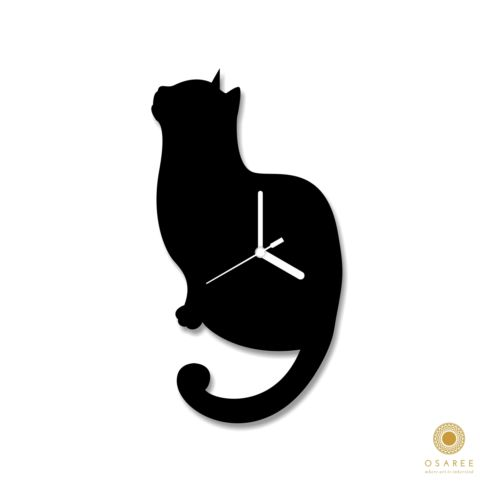 500x500 Staring Cat Funny Actions Silhouette Animal Design Wall Clock