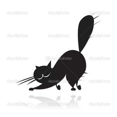 236x236 Black Cat Silhouette For Your Design Miscellaneous