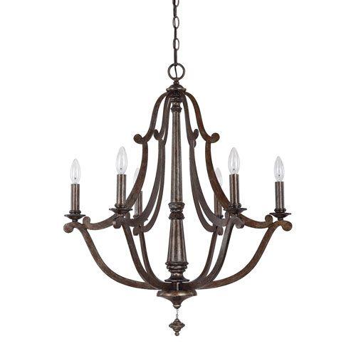 500x500 Corday Rustic Six Light Chandelier Capital Lighting Fixture