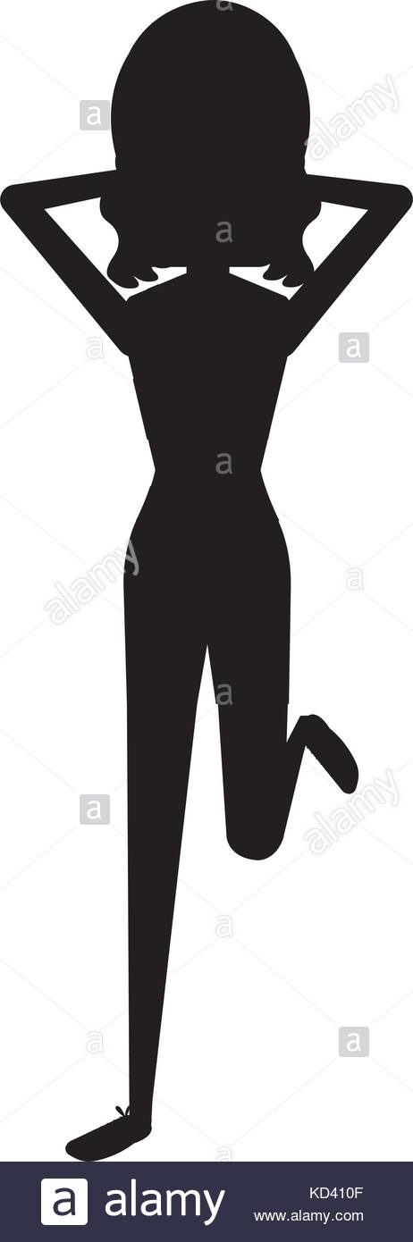 462x1390 Woman Doing Exercise Silhouette Character Vector Illustration