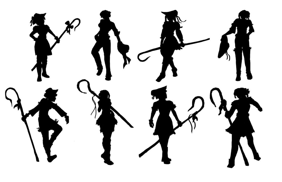 1111x719 Character Silhouette Practice By Vain138
