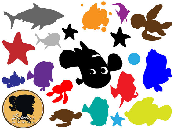 570x428 Finding Nemo Characters Silhouette Clipart Images Collection