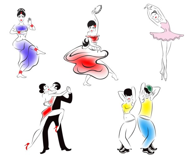 600x520 4 Designer Characters Dancing Silhouette 02 Vector Material