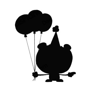 310x310 Bear With Party Hat And Balloons Silhouette Characters Decals