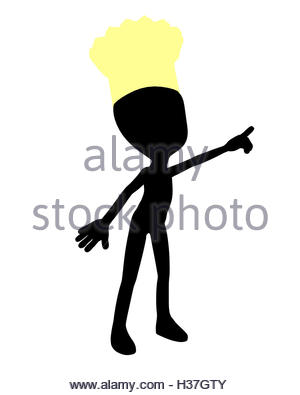 300x395 Cute Black Silhouette Chef Guy Holding A Blank Sign On A White
