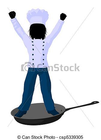 337x470 Boy Chef Silhouette Illustration. Boy Chef In Skillet On