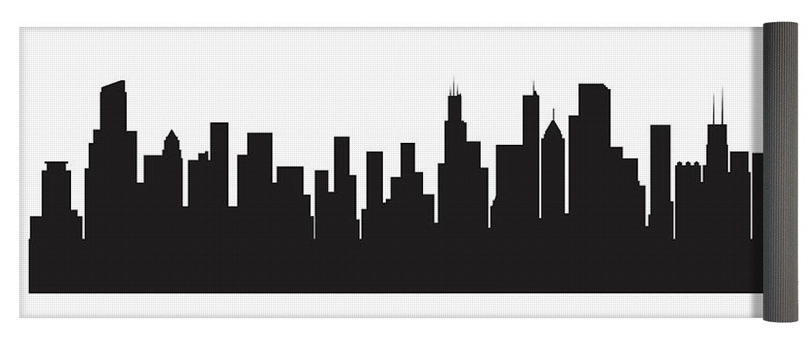 1171x500 Anna Maloverjan Yoga Mat Featuring The Digital Art Chicago Skyline