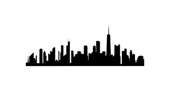 570x341 Chicago Skyline Rubber Stamp Silhouette