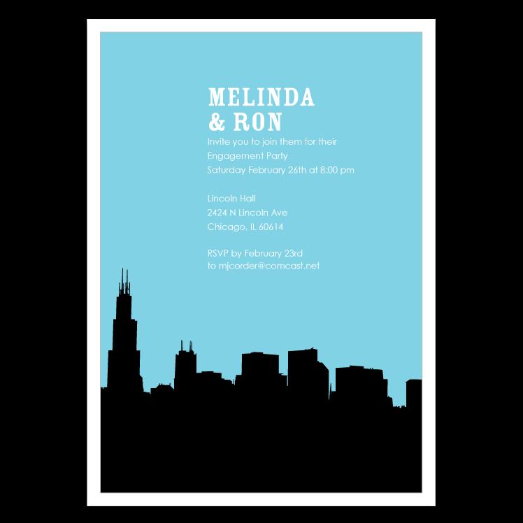 748x748 Chicago Skyline Silhouette Party Invitations Ian Amp Lola Design