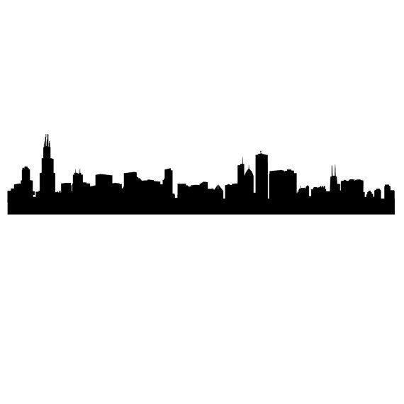 570x570 Chicago Skyline Silhouette Wall Decal Custom Vinyl Door Danadecals