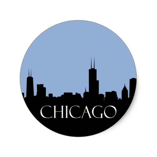 540x540 Chicago Skyline Classic Round Sticker
