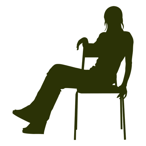 512x512 Woman Sitting Silhouette Side View