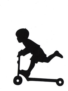236x317 Boy Riding Scooter Child Silhouette Die Cut For Scrap Booking