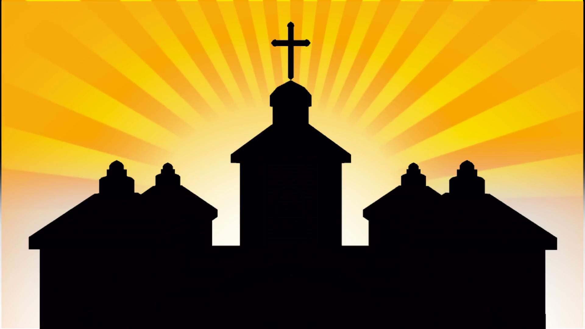 1920x1080 Church Silhouette With Sunburst Background Motion Background