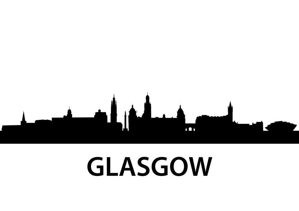 1000x707 Glasgow Scotland City Skyline Silhouette Vinyl Wall Art Sticker