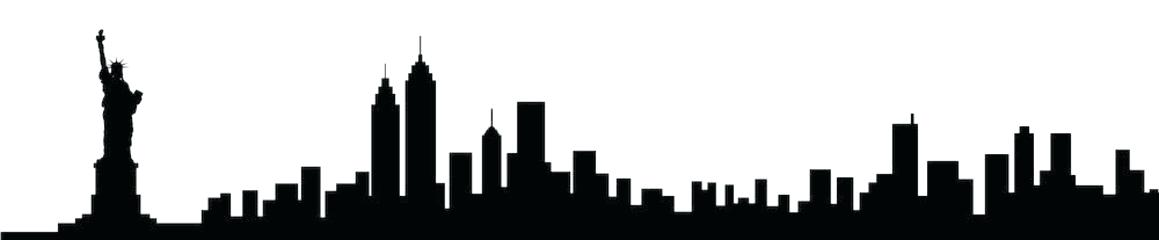 1159x240 New York Skyline Silhouette Black Silhouette Of New City