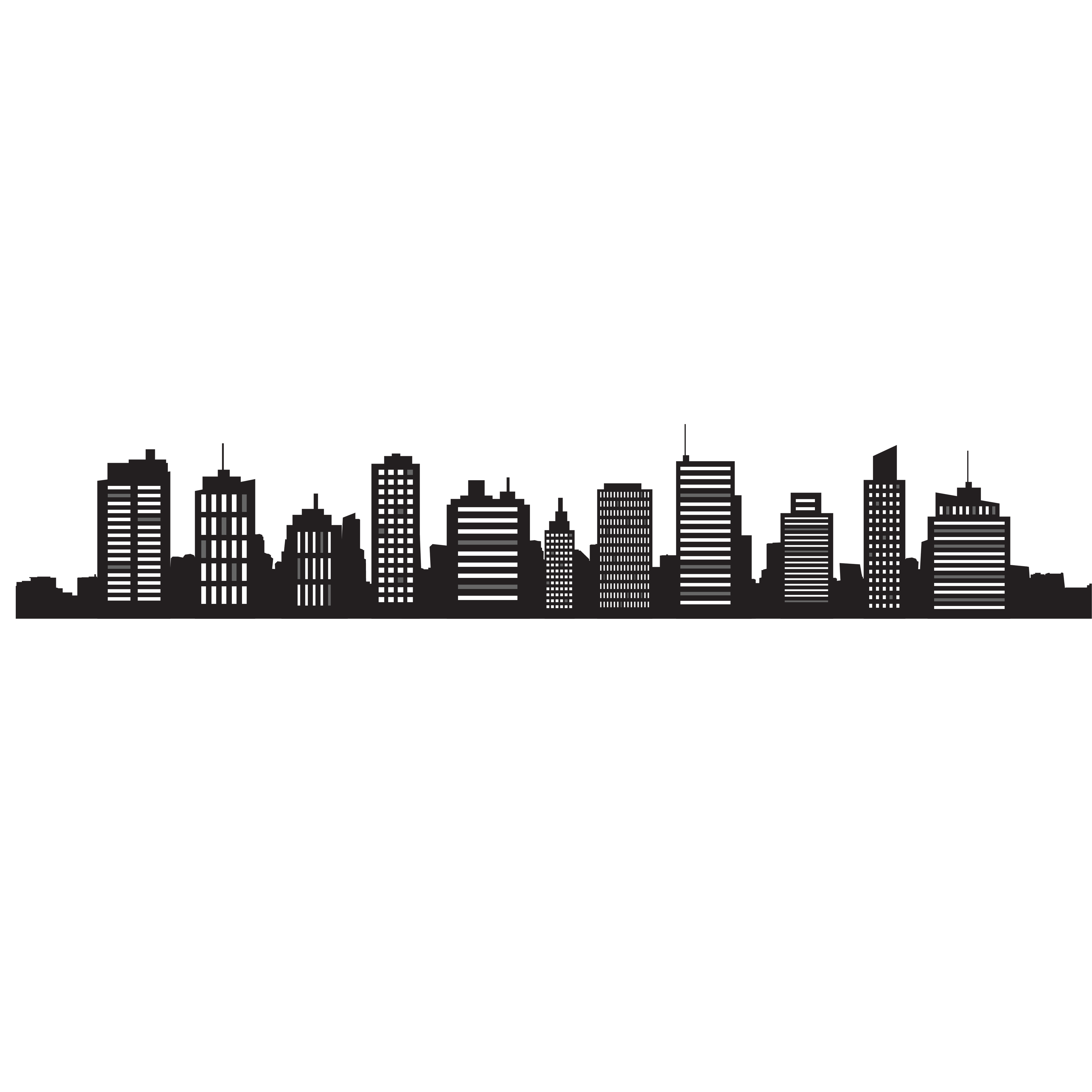 3402x3402 Skyline Cityscape Silhouette Royalty Free