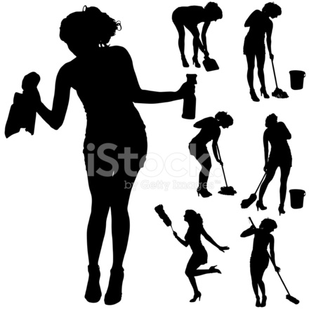 440x440 Vector Silhouette Of A Cleaning Stock Vector