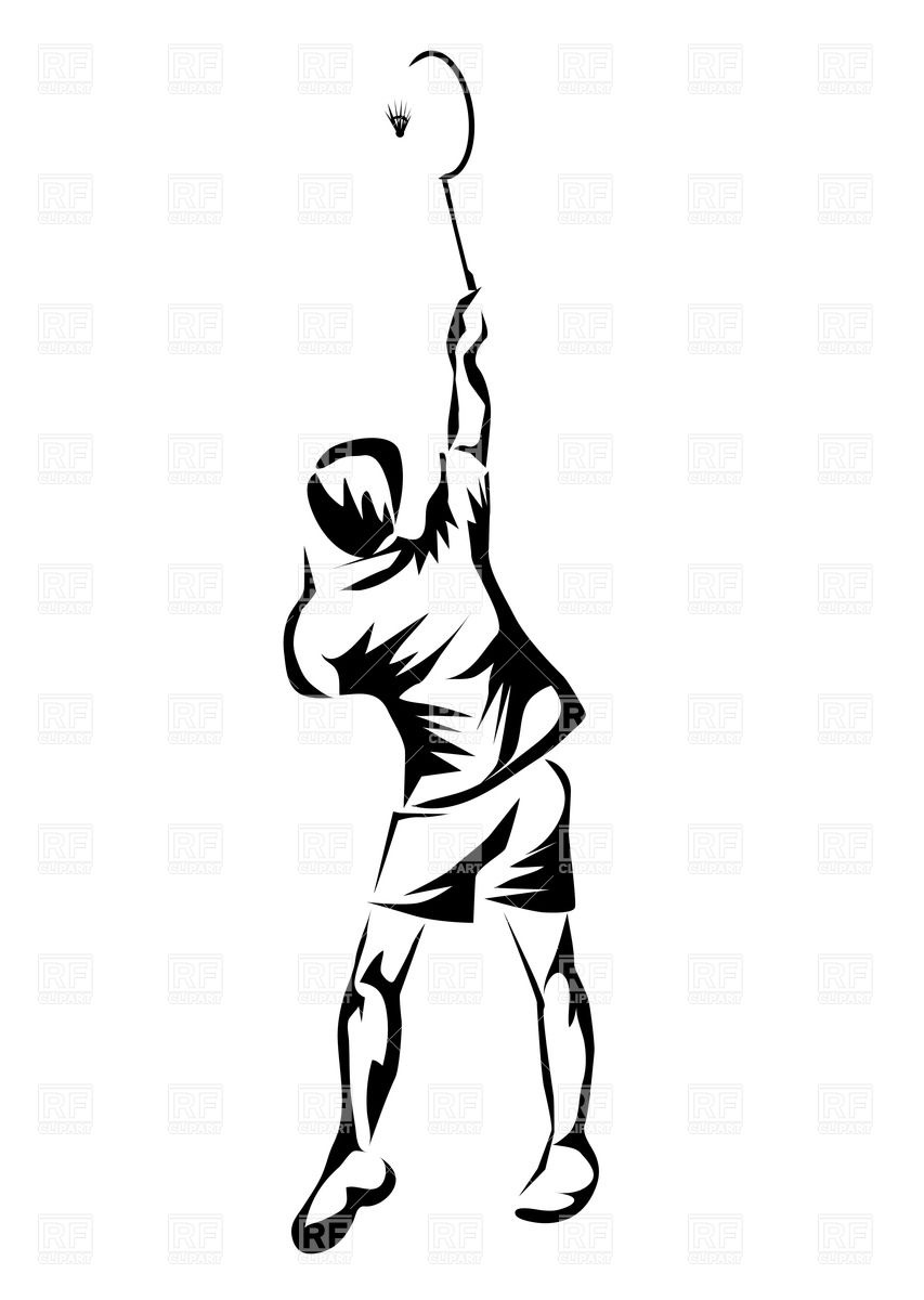853x1200 Silhouette Of Badminton Player Royalty Free Vector Clip Art Image