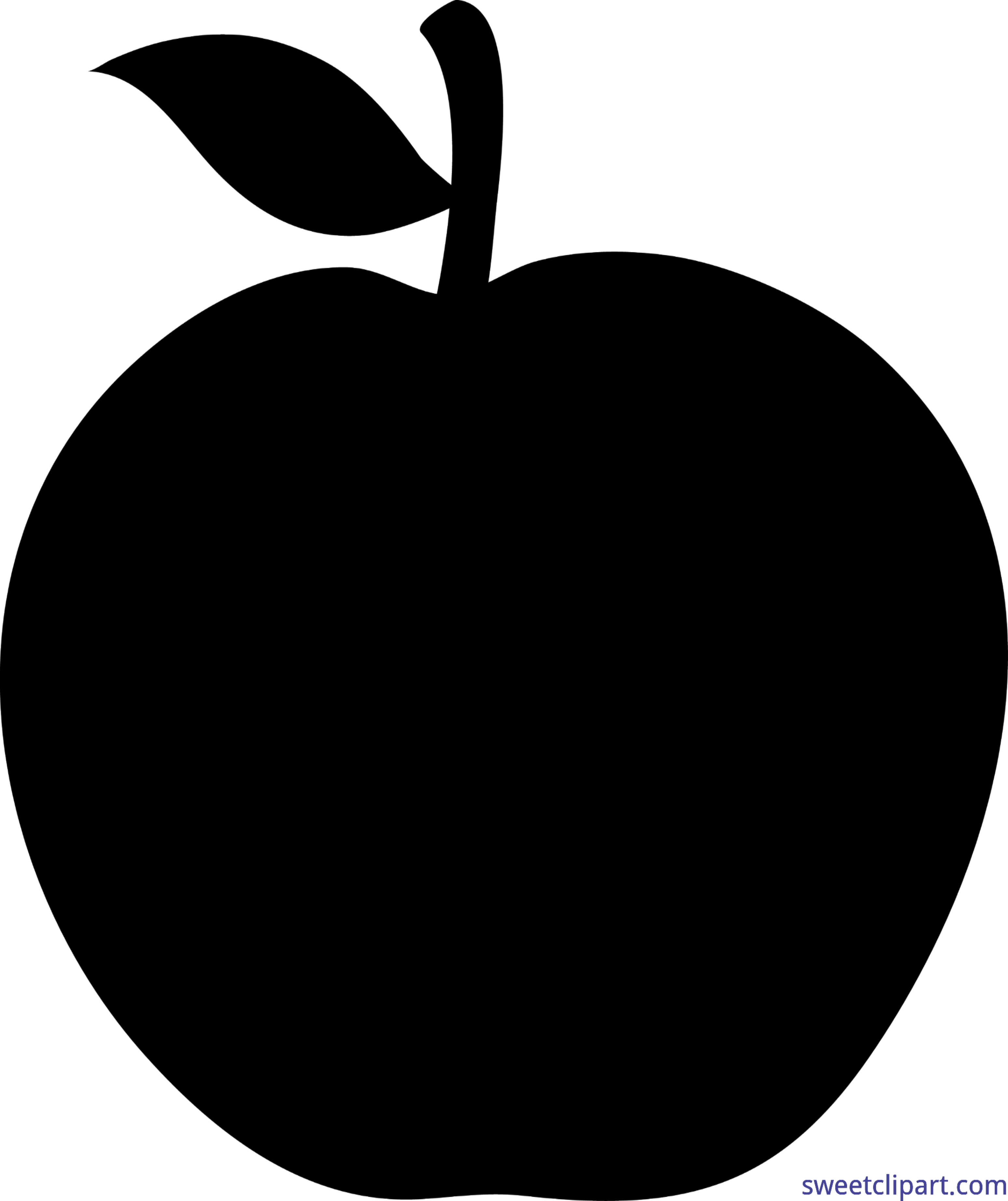 3097x3689 Apple Black Silhouette Clip Art