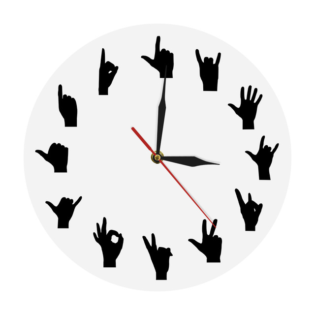 640x640 1piece Silhouette Hand Signs Wall Clock Fingers Modern Round