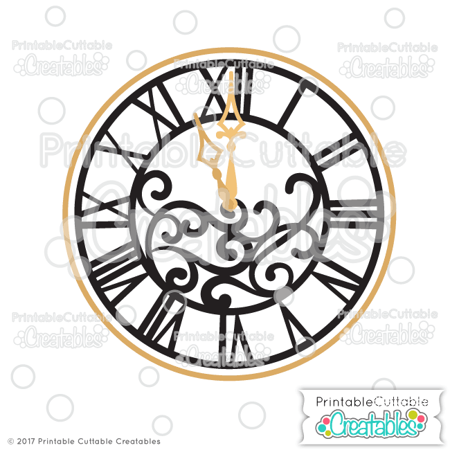 650x650 New Year's Clock Svg Cut File Amp Clipart For Silhouette, Cricut