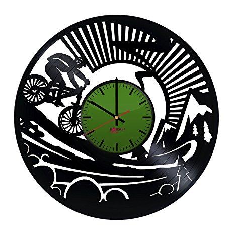 463x463 Cycling Theme Design Vinyl Record Wall Clock