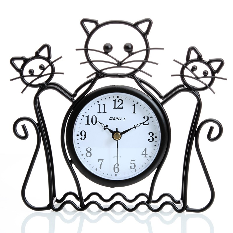 800x800 Cat Silhouette Wall And Table Clock