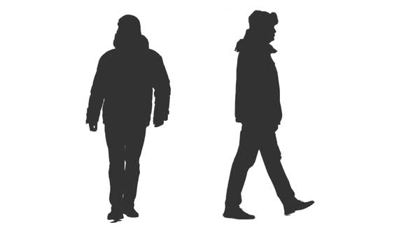 590x332 Silhouette Of Walking Man In Winter Clothes, Alpha Channel By