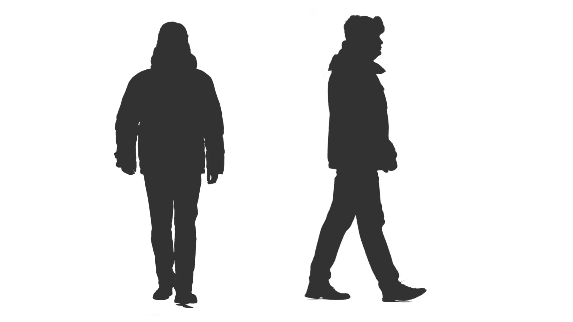 1920x1080 Silhouette Of Walking Male In Winter Clothes, 2 In 1, Alpha