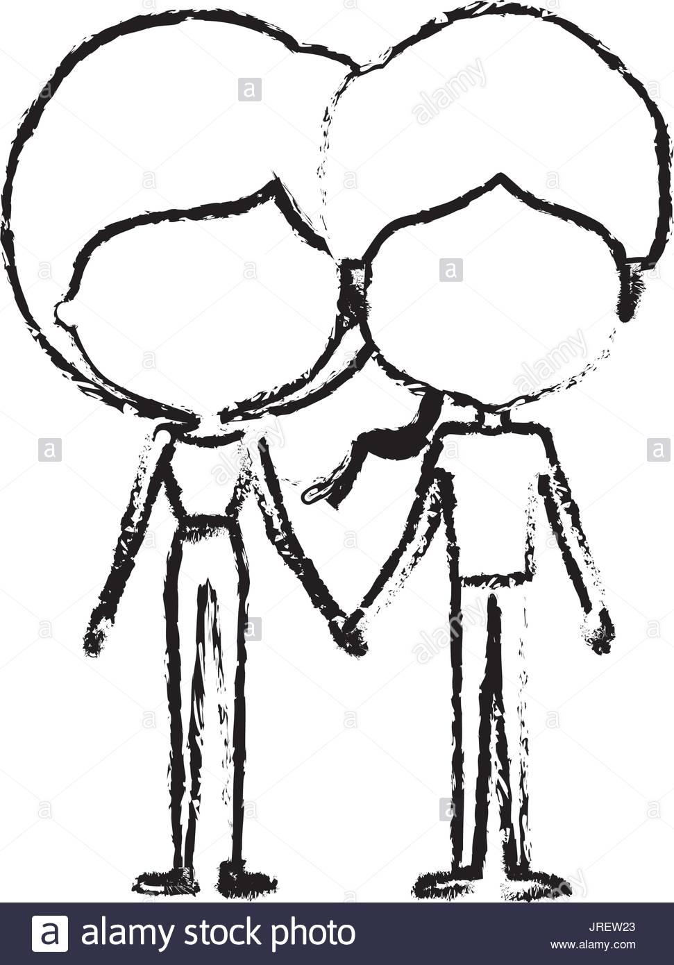 971x1390 Blurred Silhouette Of Caricature Faceless Thin Couple In Clothes