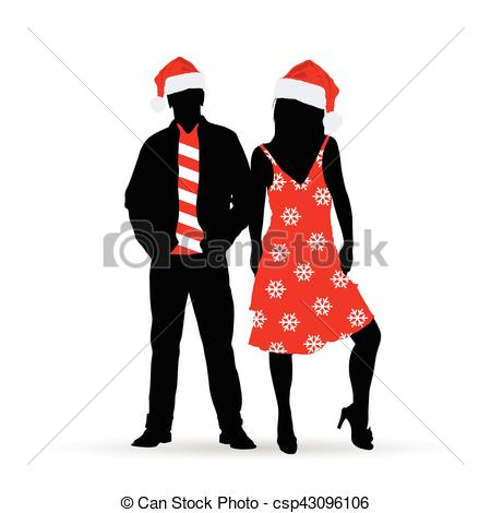 450x470 Couple Silhouette In New Year Clothes Color Illustration