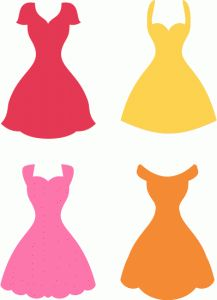 217x300 Instant Download, White Bridesmaid Dresses Silhouettes Clipart