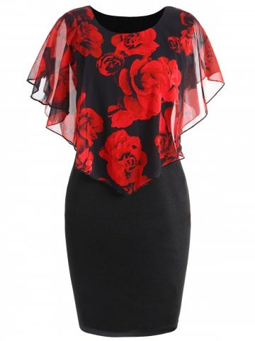 360x480 Blackred 3xl Plus Size Rose Overlay Dress